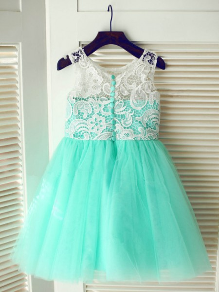A-Line/Princess Blue Tulle Floor-Length Flower Girl Dresses with Lace