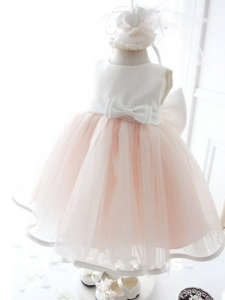 Ball Gown Pink Organza Floor-Length Flower Girl Dresses with Bowknot