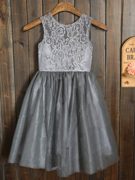A-Line/Princess Silver Tulle Floor-Length Flower Girl Dresses with Sash/Ribbon/Belt
