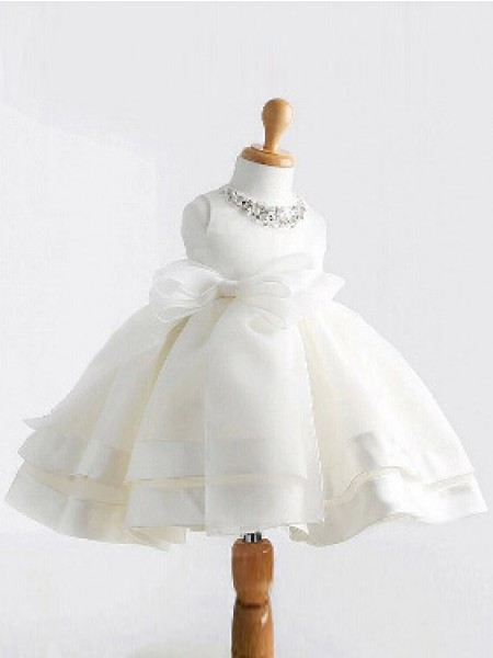 Ball Gown White Satin Floor-Length Flower Girl Dresses with Bowknot